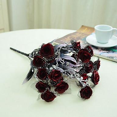 1 Gren Plastikk Andre Roser Planter Andre Bordblomst Kunstige blomster