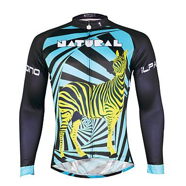 ILPALADINO Pyöräily jersey Miesten Pitkähihainen Pyörä Jersey Nopea kuivuminen Ultraviolettisäteilyn kestävä Hengittävä Puristus Kevyet
