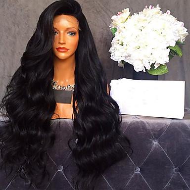 Ekte hår Blonde Forside Parykk Krop Bølge 150% tetthet 100 % håndknyttet Afroamerikansk parykk Naturlig hårlinje Kort Medium Lang Dame