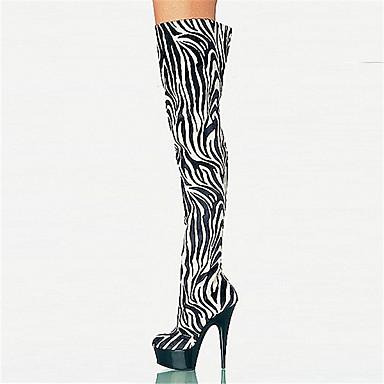 povoljno Ženske čizme-Žene Čizme Čizme do koljena Stiletto potpetica / Platformske cipele Okrugli Toe Patent-zatvarač Prilagođeni materijali Čizme preko koljena Inovativne cipele / Modne čizme Jesen / Zima Zebra / EU36