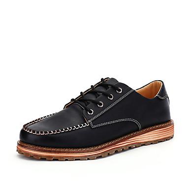 メンズ 靴 レザーレット 秋 冬 コンフォートシューズ オックスフォードシューズ 用途 カジュアル ブラック Brown ダークブラウン