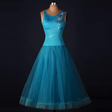 Baile de Salón Vestidos Mujer Rendimiento Licra / Organza Apliques / Flor / Cristales / Rhinestones Sin Mangas Cintura Alta Vestido