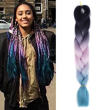 Tresses Jumbo Tresse Natté Tresses au Crochet Rajouts Colorés Cheveux 100 % Kanekalon Rajouts de Tresses Extensions de cheveux