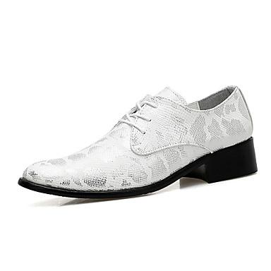 Miesten kengät Nahka Kevät / Syksy Comfort / muodollinen Kengät Oxford-kengät Kävely Kulta / Musta / Hopea / Häät / Juhlat / Nahkakengät
