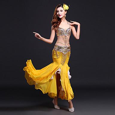 Belly Dance Outfits Women's Performance Spandex / Milk Fiber Sequin / Split Front Sleeveless Natural Skirt / Bra / Waist Belt