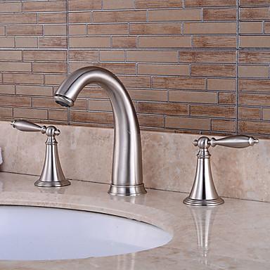 Grifo de bañera - Preenjuague Cascada Separado Níquel Cepillado Bañera y ducha Dos asas de tres agujeros