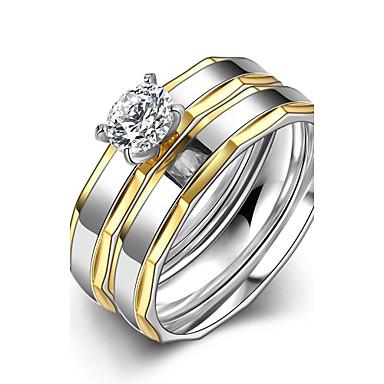 女性 指輪 婚約指輪 オリジナル ファッション ステンレス鋼 ジルコン ゴールドメッキ ジュエリー 結婚式 パーティー 日常 カジュアル スポーツ