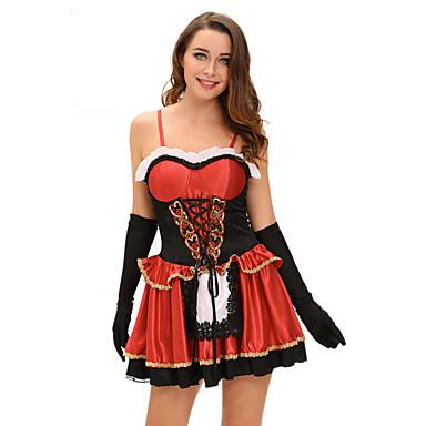 Siivujan asut ura Puvut Cosplay-Asut Juhla-asu Naisten Halloween Karnevaali Festivaali / loma Halloween-asut Color Block Maid asut