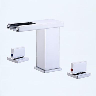 Moderne Art déco/Retro Modern 3-Loch-Armatur Keramisches Ventil Zwei Griffe Drei Löcher Waschbecken Wasserhahn