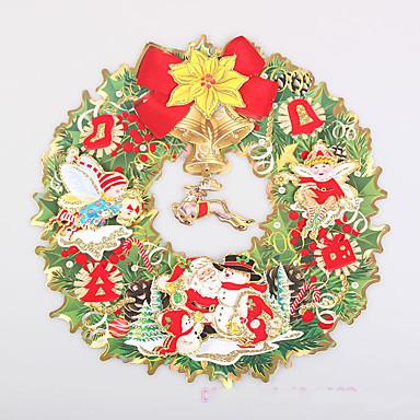 2個のランダムなペアのメリークリスマスは、サンタクロースヘッド3D壁のステッカー壁のステッカーのデザインはランダムで群がっ