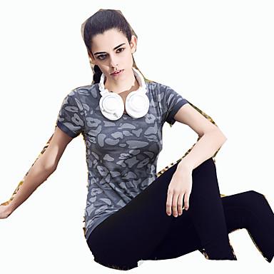 女性用 ランニングTシャツ 半袖 速乾性 高通気性 Tシャツ トップス のために ヨガ エクササイズ&フィットネス レジャースポーツ ランニング エラステイン スリム オレンジ グレー パープル ダークブルー S M L