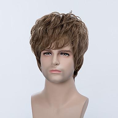 ハンサムなショートキャップレスは、男性のための自然なウェーブのかかった人間の毛髪のかつら