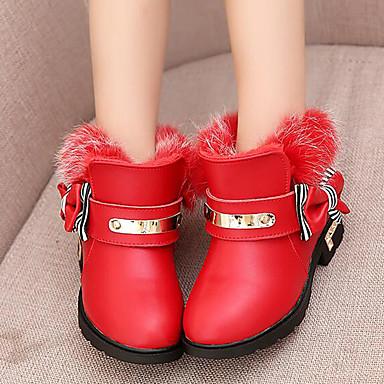 女の子 靴 レザー 冬 スノーブーツ コンフォートシューズ ブーツ ローヒール リボン 用途 カジュアル ブラック レッド