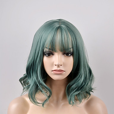 Pelucas sintéticas Ondulado Natural Corte Bob / Con flequillo Pelo sintético Raya en medio Verde Peluca Mujer Corta Sin Tapa Verde