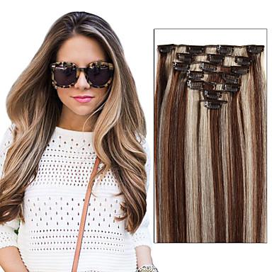 voordelige Extensions van echt haar-Febay Clip-in Extensions van echt haar Recht Echt haar Braziliaans haar Medium Brown / Bleached Blonde