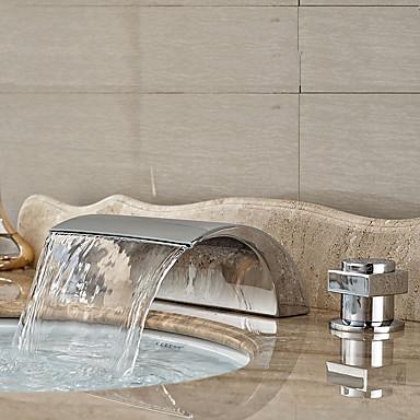 Art Deco/Retro Kolmiosainen Vesiputous Keraaminen venttiili Kaksi kahvaa kolme reikää Kromi, Kylpyhuone Sink hana