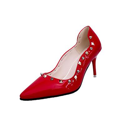 Dame-PU-Lav hæl-Komfort-Høye hæler-Fritid-Svart Rød Hvit