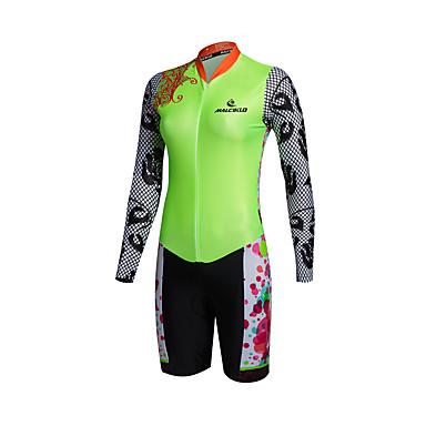 ショーツ付きサイクリングジャージー 女性用 長袖 バイク トライアスロン コンプレッションウェア 洋服セット 速乾性 フロントファスナー 耐久性 高通気性 (>15,001g) 高通気性 YKKジッパー ビデオ圧縮 軽量素材 3Dパッド 超軽量生地 低摩擦 滑らか 保護