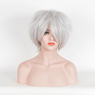 Synteettiset peruukit Kihara Synteettiset hiukset Valkoinen Peruukki Naisten Lyhyt