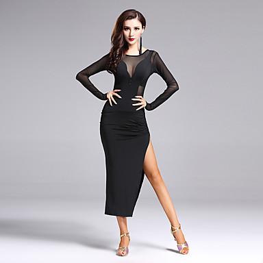 الرقص اللاتيني الفساتين للمرأة أداء بوليستر / سباندكس فتحة أمامية كم طويل ارتفاع متوسط فستان