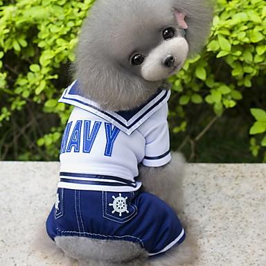 Perro Disfraces Mono Ropa para Perro Marinero Azul Oscuro Algodón Disfraz Para mascotas Hombre Cosplay Moda