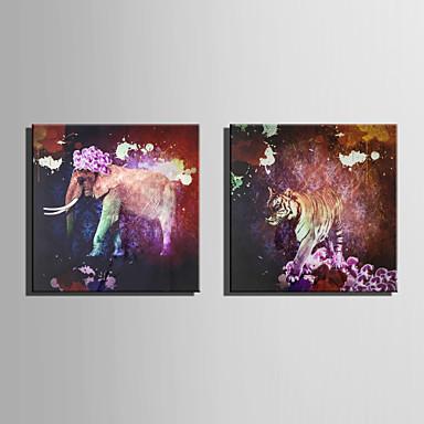 キャンバスセット 動物 欧風,2枚 キャンバス 四角形 版画 壁の装飾 For ホームデコレーション
