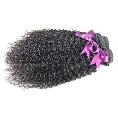 Brasiliansk hår Kinky Curly Ubehandlet hår Menneskehår Vevet Hårvever med menneskehår Svart / Kinky Krøllet