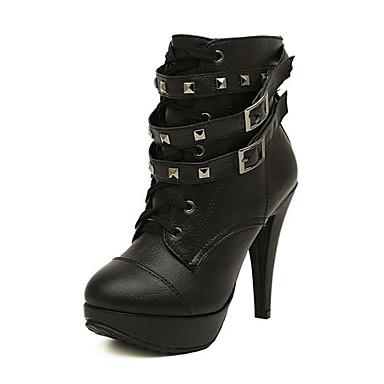 Bootsit-Piikkikorko-Naisten-Nahka / Tekonahka-Musta-Häät / Toimisto / Puku / Juhlat-Comfort / Uutuus / Gladiaattori