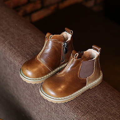 Bootsit-Tasapohja-Poikien-Nahka-Musta Ruskea Khaki-Rento-Platform