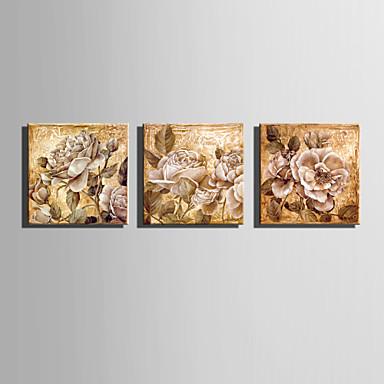 Canvas Set Kukkakuvio/Kasvitiede European Style,3 paneeli Kanvas Neliö Tulosta Art Wall Decor For Kodinsisustus