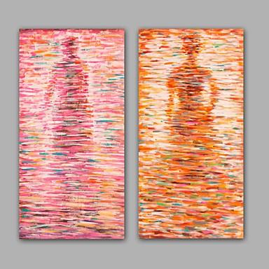 手描きの 抽象画 / 人物 油彩画,Modern / クラシック 2枚 キャンバス ハング塗装油絵 For ホームデコレーション