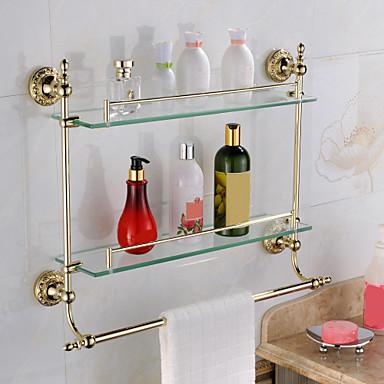 Hylle til badeværelset Moderne Messing Glass 1 stk - Hotell bad