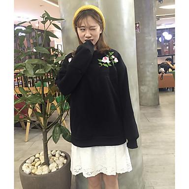 ラウンドネック長袖フリースセーター2色刺繍の古代日本のモデルのレトロなバラの公式サイトに署名