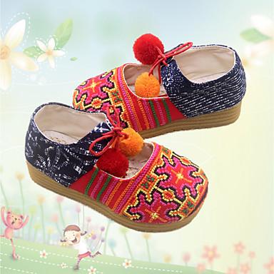 女の子 靴 コットン 春 秋 メリージェーン フラット フラットヒール ラウンドトウ 用途 カジュアル ダークブルー レッド