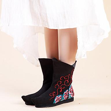 Damen Stiefel Komfort Modische Stiefel Leinwand Frühling Herbst Winter Normal Kleid Walking Komfort Modische Stiefel Satin Blume Blume