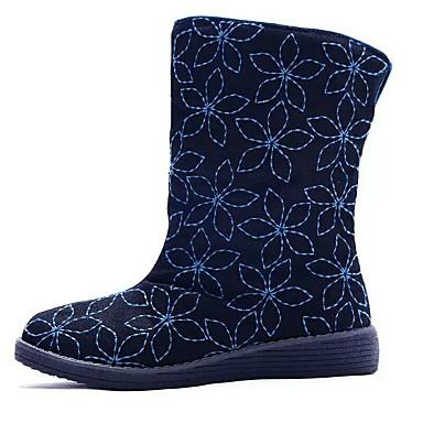 レディース 靴 キャンバス 春 冬 ファッションブーツ コンフォートシューズ ブーツ ウォーキング フラットヒール ラウンドトウ リボン紐 用途 カジュアル ドレスシューズ ブラック