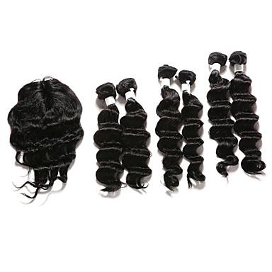 Hårstykke med lukning Indisk hår Dyb Bølge 12 måneder 7 Dele hår vævninger