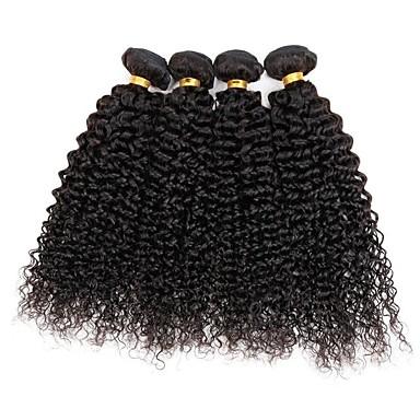 Indisk hår Kinky Curly Hårvever med menneskehår 4 deler Menneskehår Vevet