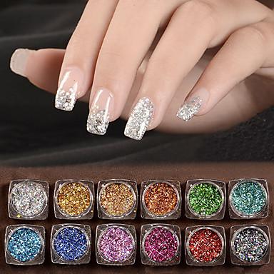 12 pcs Glitter & Poudre / Paetês Glitters / Clássico Diário