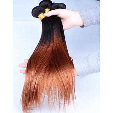 Orta Dalgalı Malezya Saçı Düz İnsan saç örgüleri 3 Parça Ombre