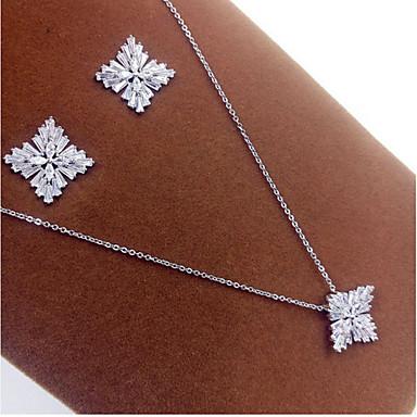 Brautkleidung Luxus-Schmuck Perle Zirkon Kubikzirkonia Schneeflocke Silber Halsketten Ohrringe Für Hochzeit Party 1 Set Hochzeitsgeschenke