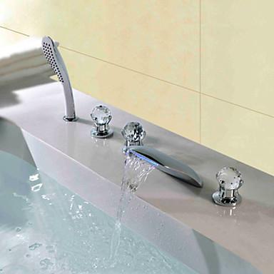 Moderne deckenmontiert Wasserfall Handdusche inklusive LED Keramisches Ventil Fünf Löcher Drei Griffe Fünf Löcher Chrom, Duscharmaturen
