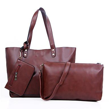 女性 バッグ オールシーズン PU バッグセット 3個の財布セット のために カジュアル ブラック Brown ワイン
