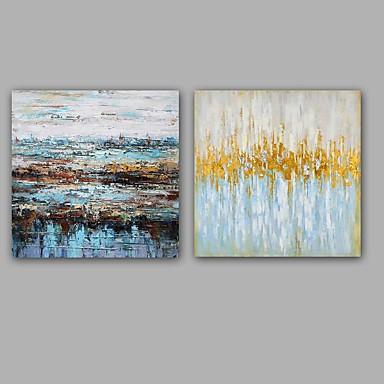 手描きの 抽象画 油彩画,Modern 欧風 2枚 キャンバス ハング塗装油絵 For ホームデコレーション