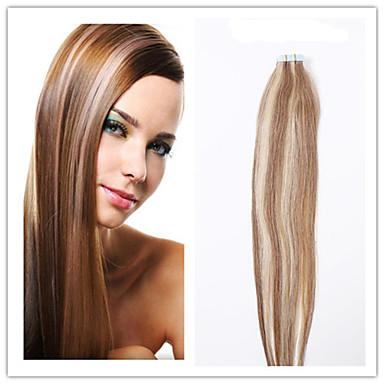 # 4/27 kaksinkertainen vetoa nauha hiusten pidennykset 100% Intian hiuksista musta vaalea ruskea PU ihon kude 20kpl edistäminen