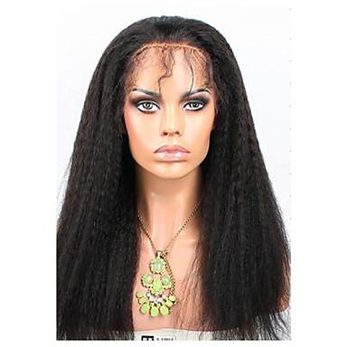 Ekte hår Blonde Forside Parykk Rett 120% tetthet Naturlig hårlinje / Afroamerikansk parykk / 100 % håndknyttet Dame Medium / Lang Blondeparykker med menneskehår