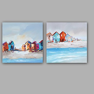 Handgemalte Landschaft Quadratisch, Europäischer Stil Modern Segeltuch Hang-Ölgemälde Haus Dekoration Ein Panel