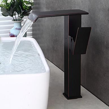 バスルームのシンクの蛇口 - プレリンス / 滝状吐水タイプ / 組み合わせ式 オイルブロンズ センターセット シングルハンドル二つの穴