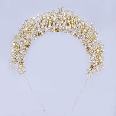 成人用 合金 人造真珠 かぶと-結婚式 パーティー カジュアル ティアラ ヘッドバンド ヘアメイクツール 1個