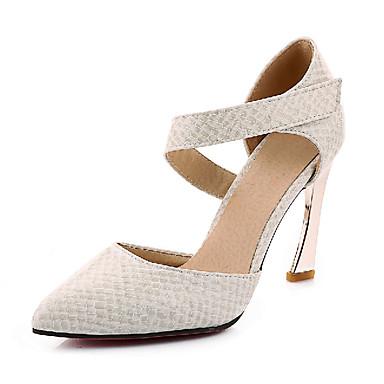 Damen Schuhe Kunstleder Frühling Sommer Herbst High Heels Stöckelabsatz Quadratischer Zeh Klett für Normal Kleid Weiß Schwarz Rot